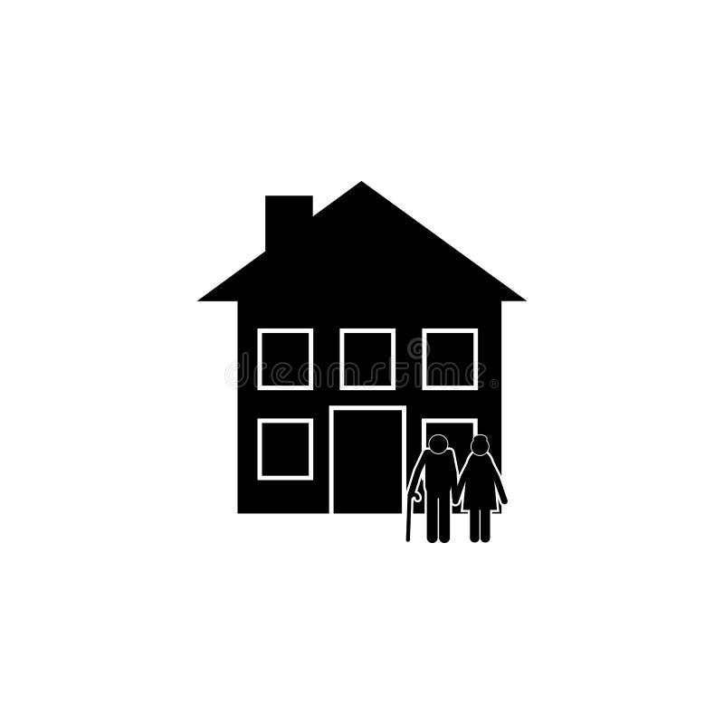 alte Paare vor der Hausikone Element einer glücklichen Familienikone Erstklassige Qualitätsgrafikdesignikone Zeichen und Symbole  stock abbildung
