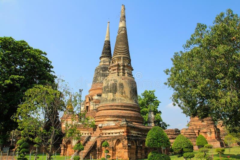 Alte Pagode bei Wat Yai Chaimongkol in Ayutthaya stockfoto