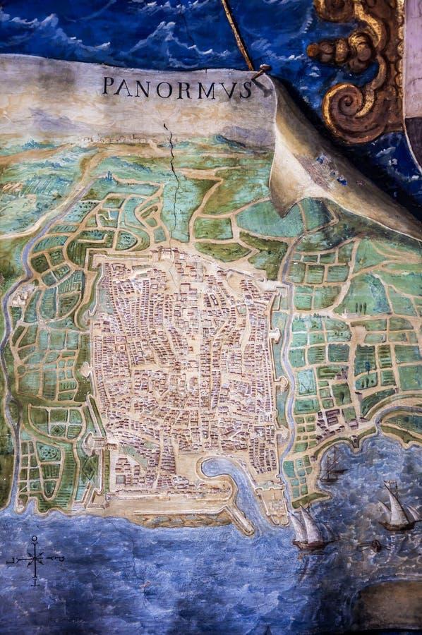 Alte Palermo-Karte stockbilder