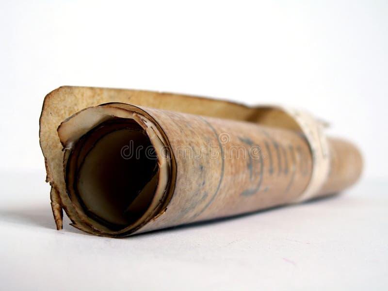 Alte Papierrolle gerollt stockfotos