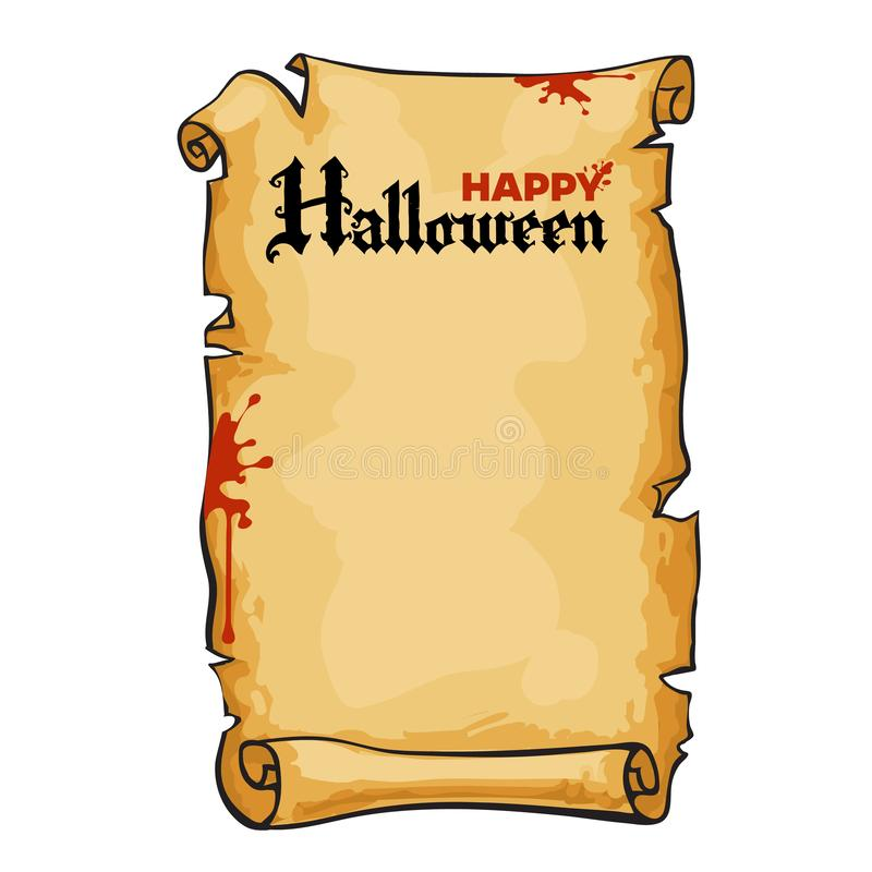 Alte Papierrolle, simsen glückliches Halloween in der gotischen Art Altes Pergament mit Blutflecken, Kopienraum Vektor lizenzfreie abbildung