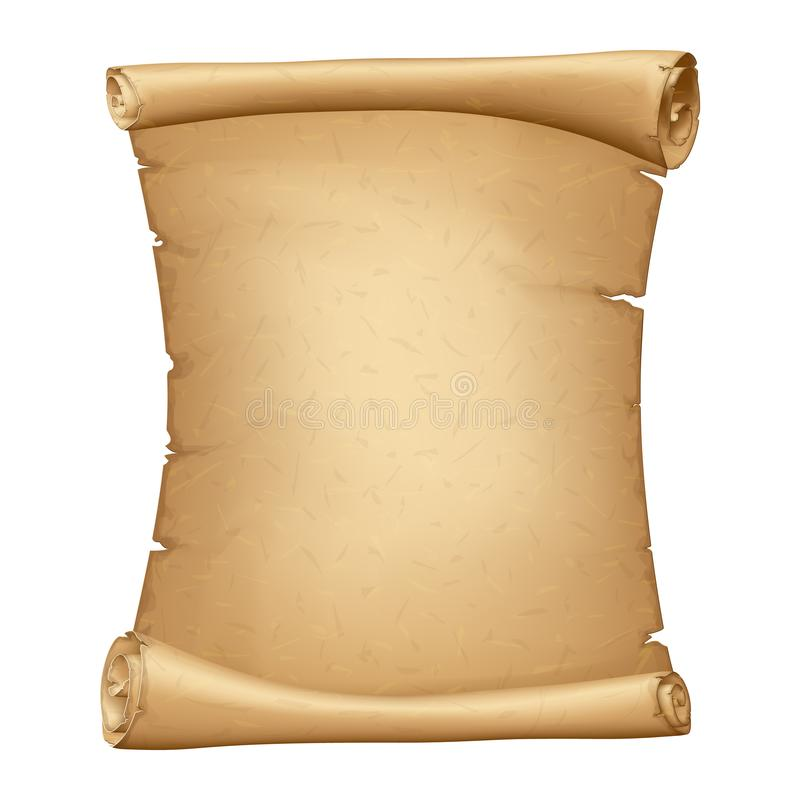 Alte Papierrolle Vertikales Pergament Alter Weinlese-Papyrus Ausf?hrliche Pappfahne vektor abbildung