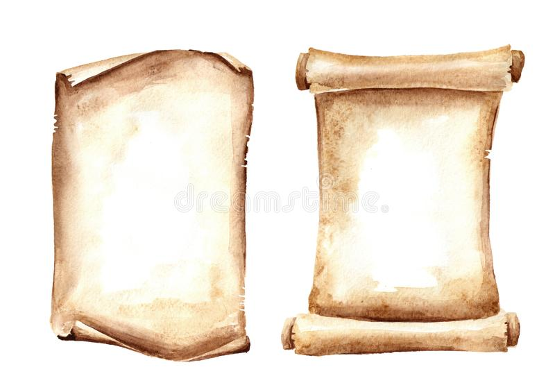 Alte Papierrollen oder Pergamente Gezeichnete Illustration des Aquarells Hand lokalisiert auf weißem Hintergrund lizenzfreie abbildung