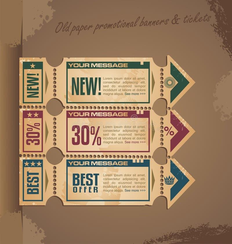 Alte Papierweinlesefahnenauslegung mit Karten stock abbildung