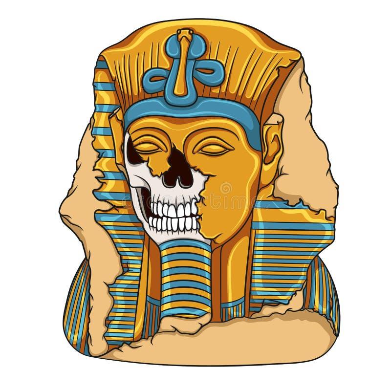 Alte Pharaostatue eines Schädels stock abbildung