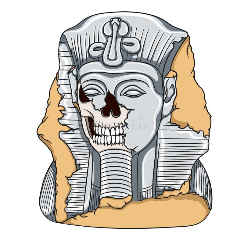 Alte Pharaostatue eines Schädels Mädchenlesezeitschrift auf dem sandigen Strand vektor abbildung