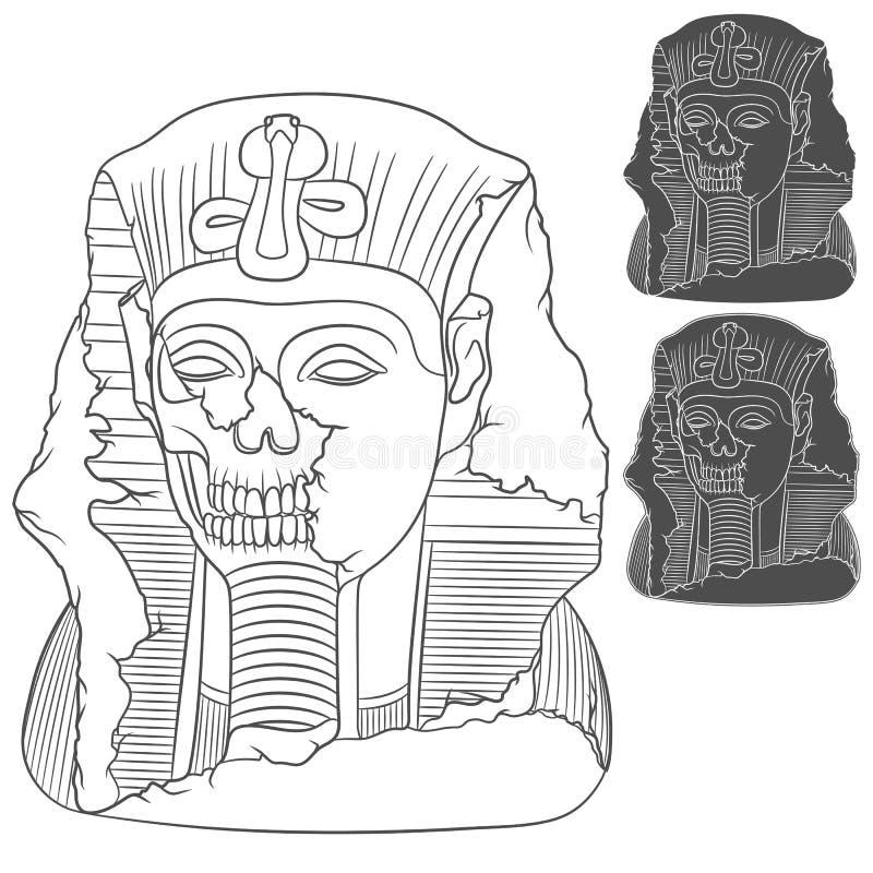 Alte Pharaostatue eines Schädels Satz Vektorgegenstände stock abbildung