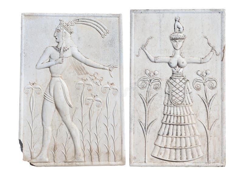 Alte Plakette von Knossos, Kreta, Griechenland lizenzfreie stockfotos