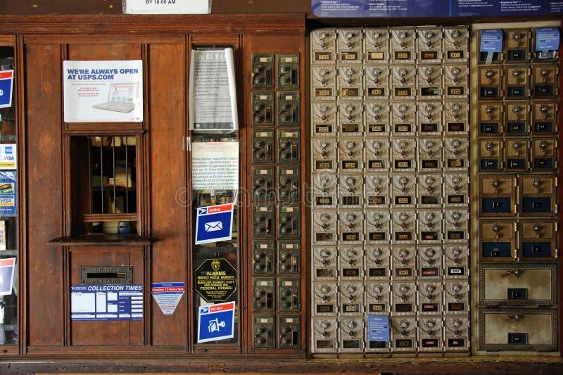 Alte Postkästen in der historischen Post Florida USA stockfotografie