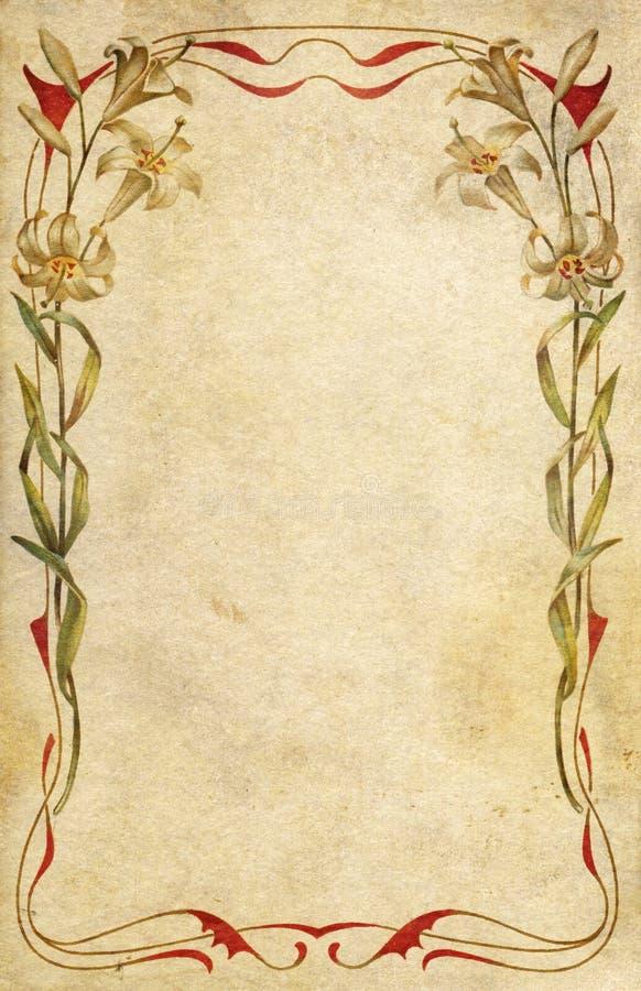 Alte Postkarte verziert mit Kunst nouveau Blumenfra stock abbildung