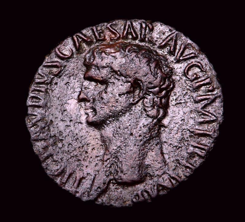 Alte römische Bronzemünze Agrippa lizenzfreie stockfotografie