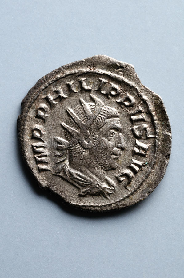 Alte römische Münze lizenzfreie stockfotos