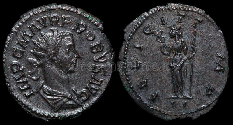 Alte römische Münze. stockfotografie