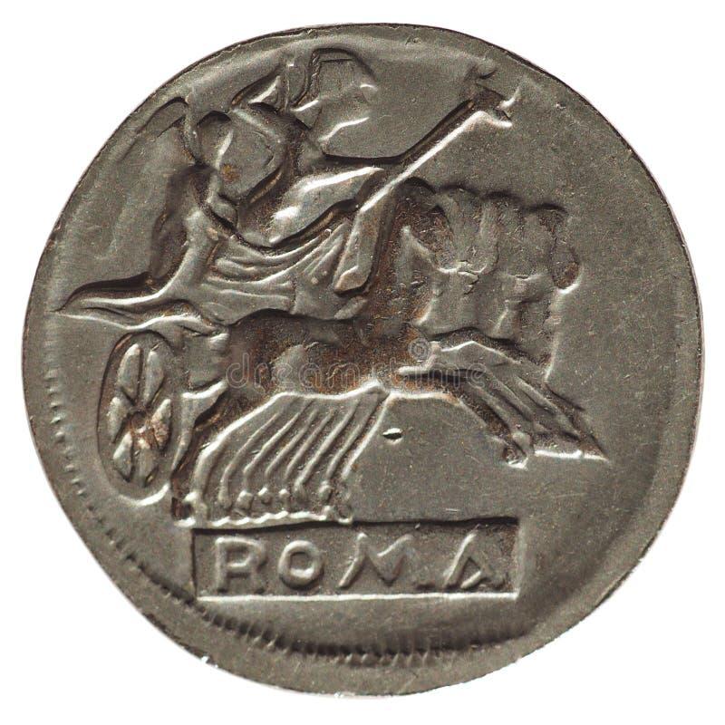 Alte römische Münze lokalisiert über Weiß stockbilder