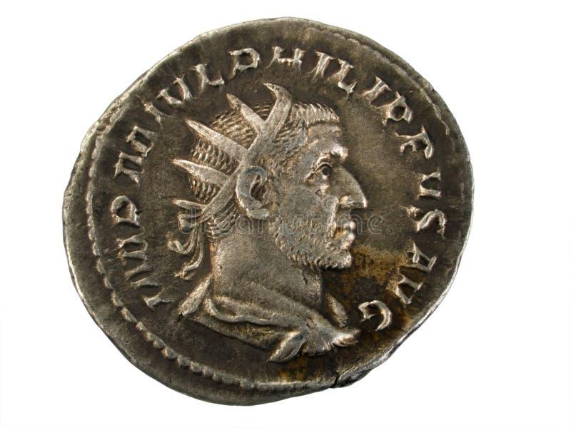 Alte römische Silbermünze stockfotos