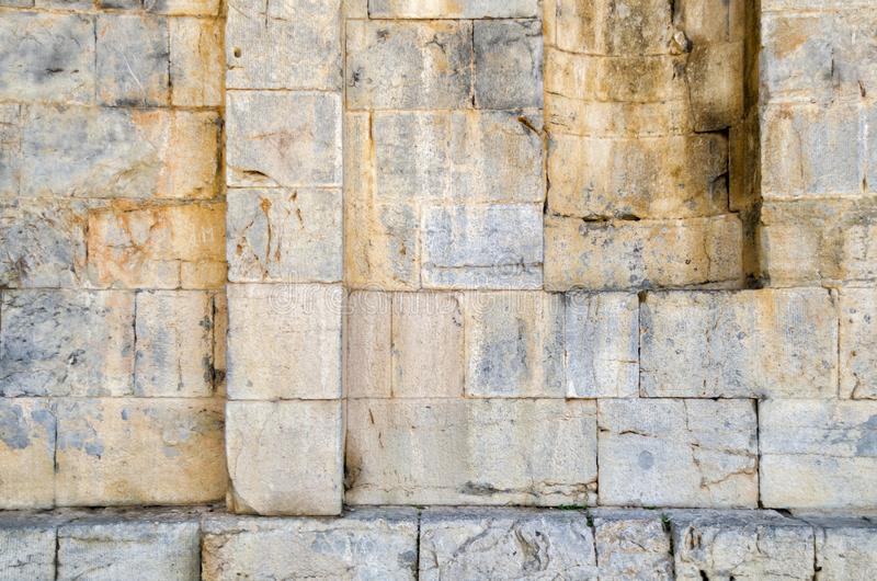 Alte römische Tempel ` s Wandbeschaffenheit stockfoto