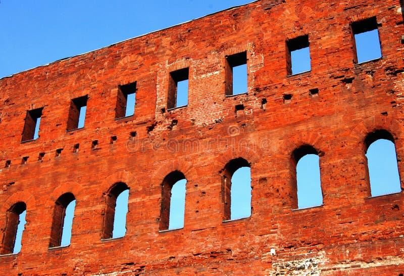 Alte römische Wand des Ziegelsteines stockfoto