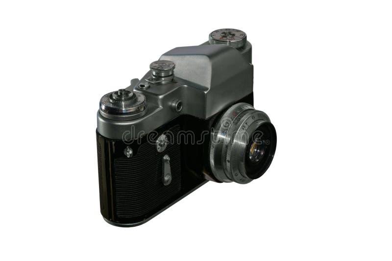 Alte Retro- Kamera auf einem lokalisierten Hintergrund stockfotografie