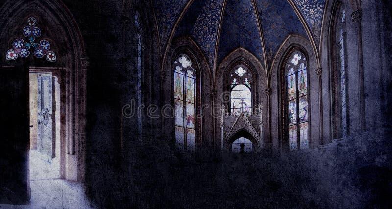 Alte Retro- Kirche lizenzfreie abbildung