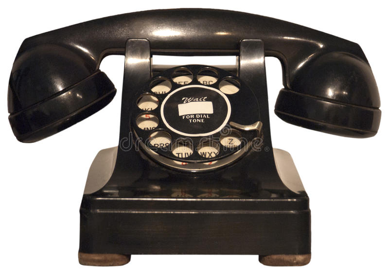 Alte Retro- Weinlese-Drehtelefon, Telefon trennte lizenzfreies stockfoto