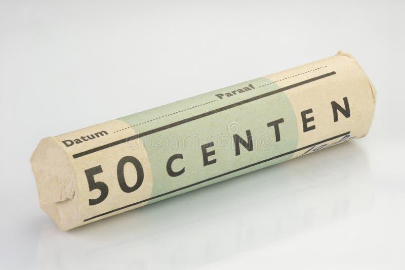 Alte Rolle mit fünfzig Cents lizenzfreies stockfoto