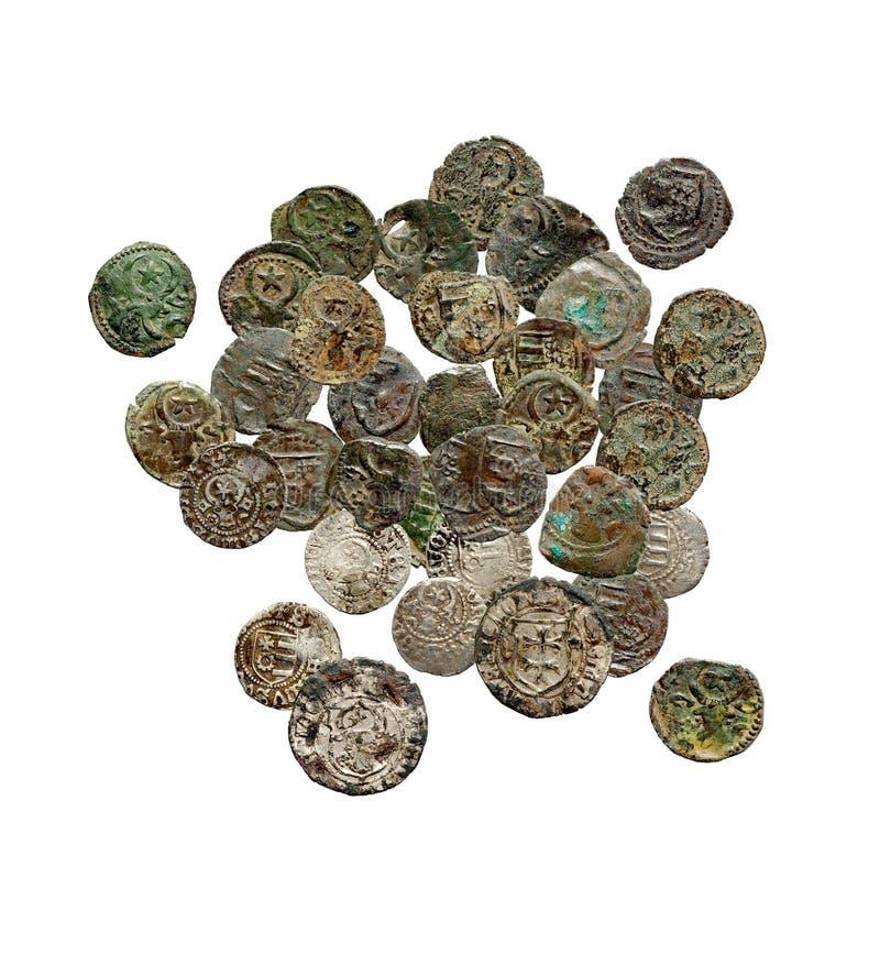 Alte rostige mittelalterliche europäische Münzen lizenzfreie stockfotografie