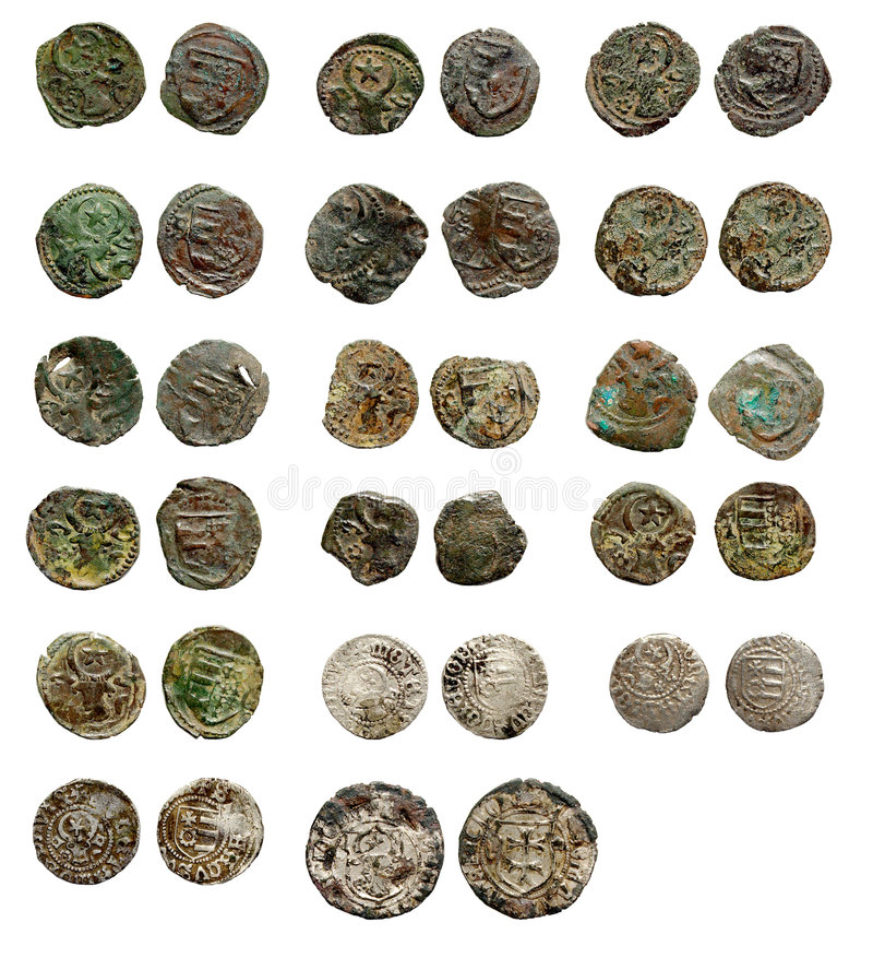 Alte rostige mittelalterliche europäische Münzen lizenzfreie stockfotos