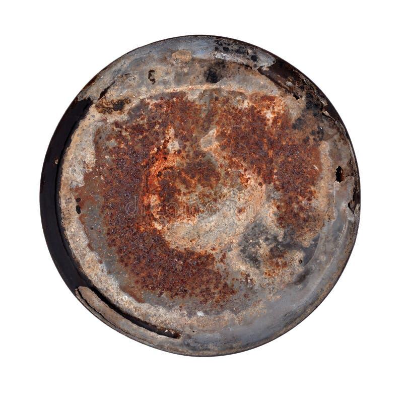 Alte rostige runde Metallplatte stockfotos