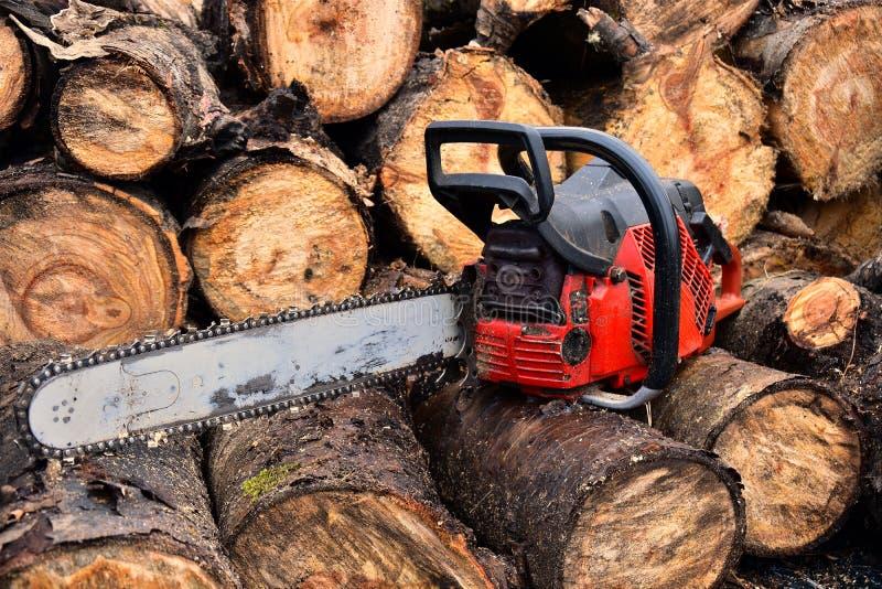 Alte rote Kettensäge und geschnittenes Brennholz stockfotografie