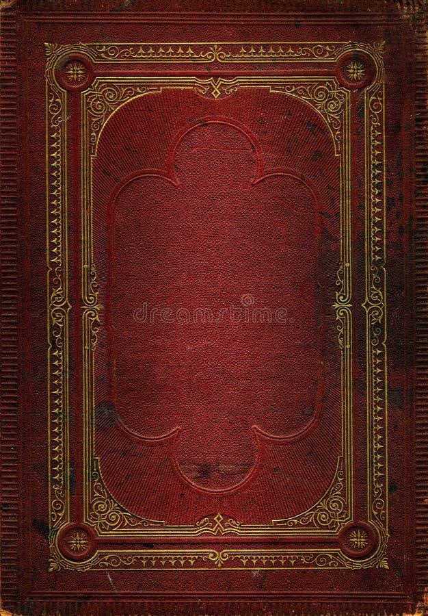 Alte rote lederne Beschaffenheit mit Golddekorativem Feld stockfotos