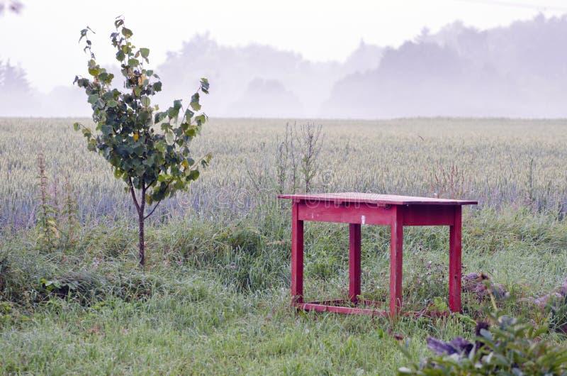 Alte rote tabelle und morgennebel im bauernhof arbeiten im - Bauernhof garten ...