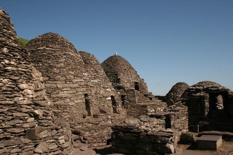 Alte Ruine des Skellig Felsens in Irland stockfoto