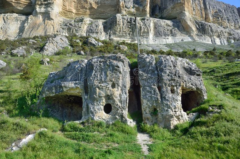 Alte Ruinen in Kachi-Kalion, Krim, Bakhchisaray-Bezirk stockbilder