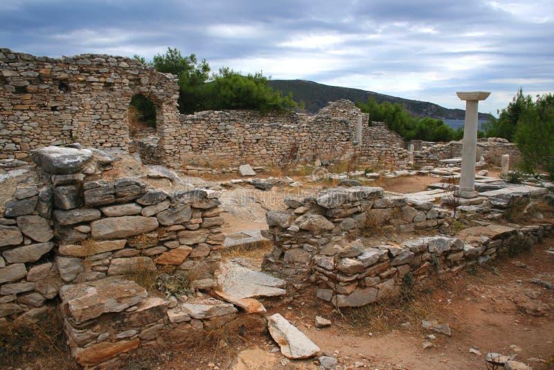 Alte Ruinen, Thassos, Griechenland lizenzfreie stockfotografie