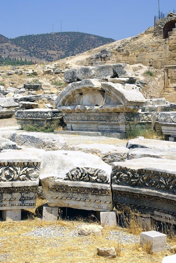Alte Ruinen von Hierapolis. Pamukkale, die Türkei. stockfotografie