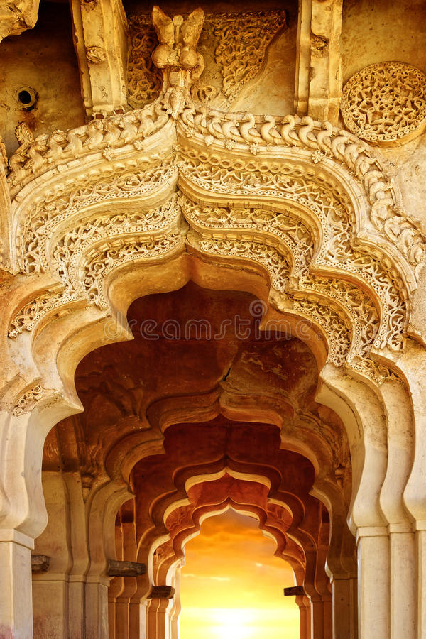 Alte Ruinen von Lotus Temple. Hampi, Indien. stockfotografie