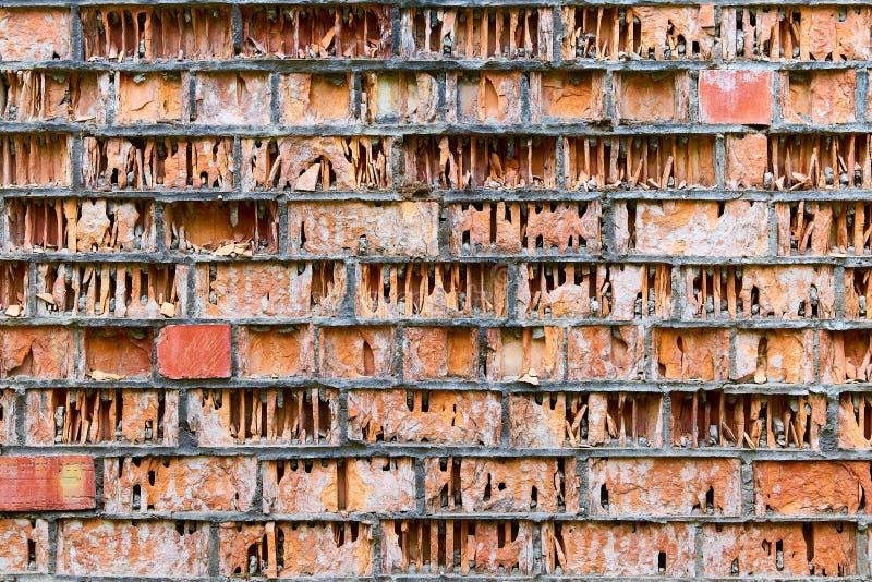 alte ruinierte Wand von roten schädigenden Ziegelsteinen wie einem Buch in einer Bibliothek lizenzfreies stockbild