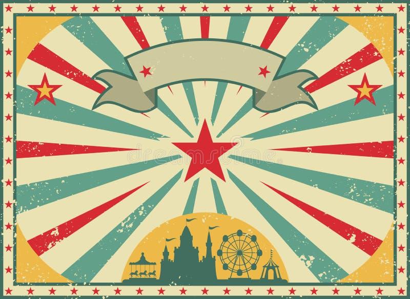 Alte sch?bige amerikanische Zirkusanschlagtafel im Retrostil Weinlesewerbungsplakat mit Strahlen und gealterter Hintergrund und B stock abbildung