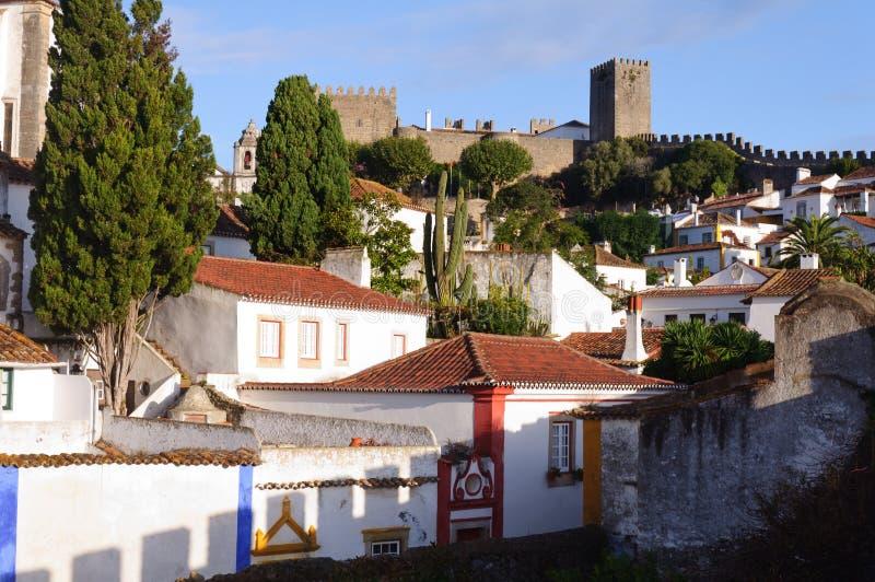 alte sch ne h user in der mittelalterlichen stadt von obidos portugal stockbild bild von. Black Bedroom Furniture Sets. Home Design Ideas
