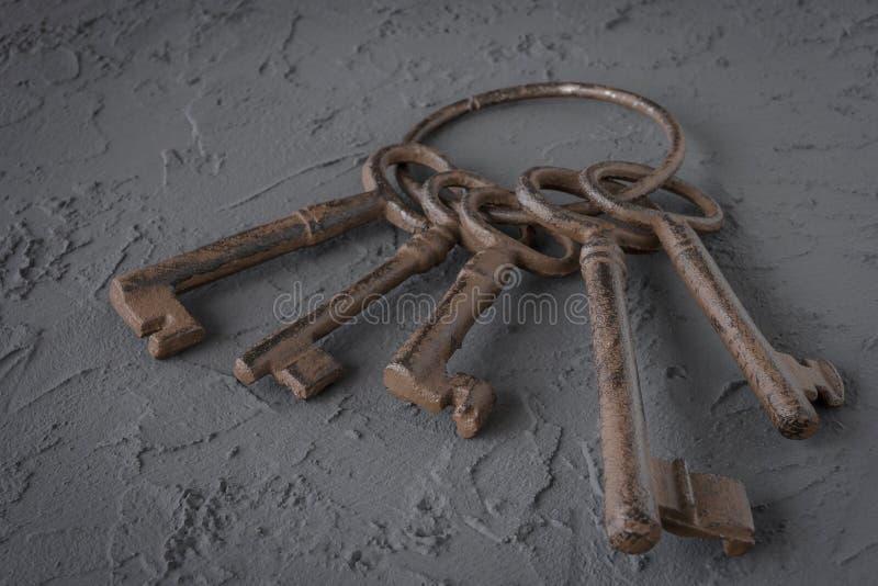 Alte Schlüssel auf einem metallischen Ring lizenzfreies stockbild