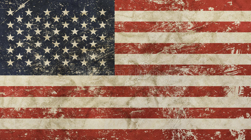 Alte Schmutzweinlese verblaßte amerikanische US-Flagge stock abbildung