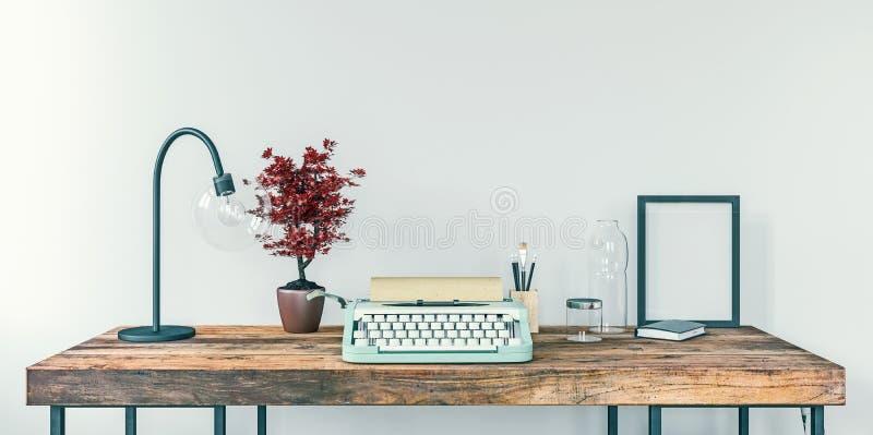 Alte Schreibmaschine auf einem Schreibtisch, Konzept des Schreibens, Journalismus, ein Dokument erstellend, Nostalgie lizenzfreie abbildung