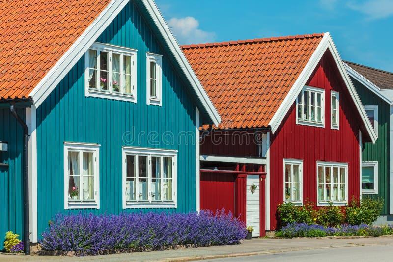alte schwedische h user vor einem blauen himmel stockbild bild von stadt blau 83821951. Black Bedroom Furniture Sets. Home Design Ideas