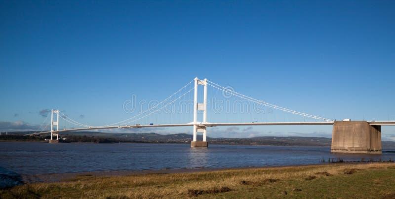 Alte Severn Brücke, die Wales und England anschließt lizenzfreie stockfotos