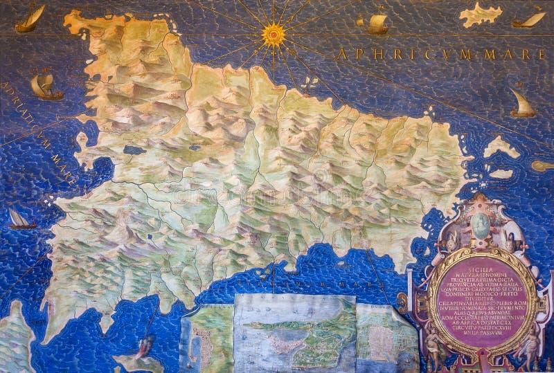 Alte Sizilien-Karte lizenzfreies stockbild
