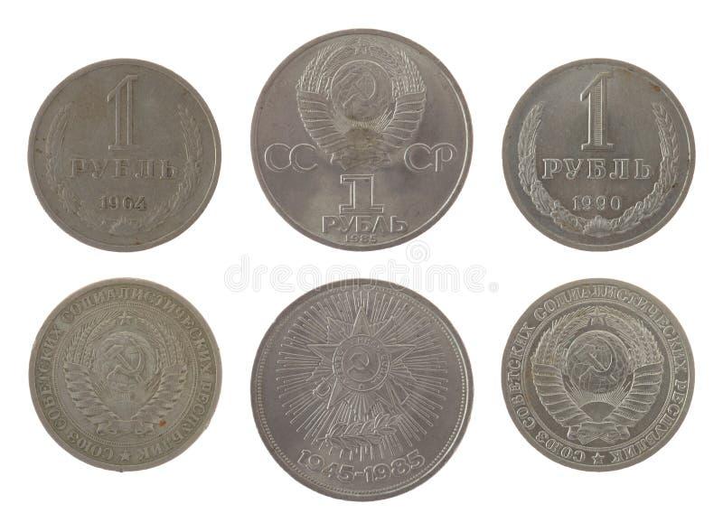 Alte sowjetische Rubel-Münzen getrennt auf Weiß stockfotografie