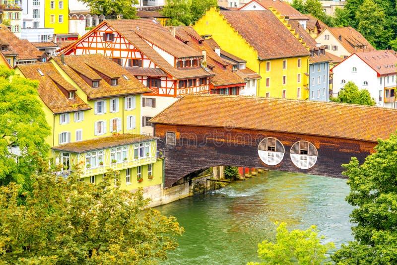 Alte Stadt Baden in der Schweiz stockfotografie