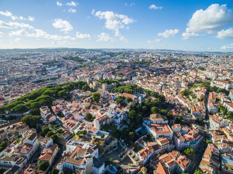 Alte Stadt der Vogelperspektive von Lissabon-Stadt lizenzfreie stockbilder
