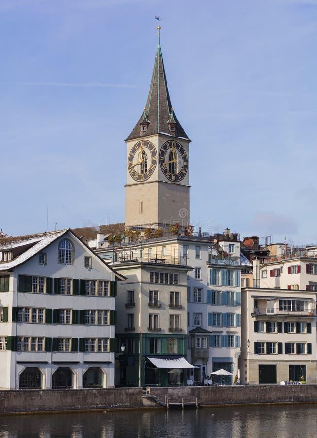 Alte Stadt der Stadt von Zürich im Winter stockfoto