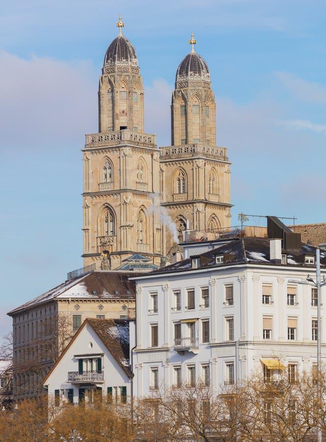 Alte Stadt der Stadt von Zürich im Winter stockbilder